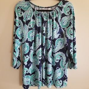 Croft & Barrow size 1x blue and green paisley top